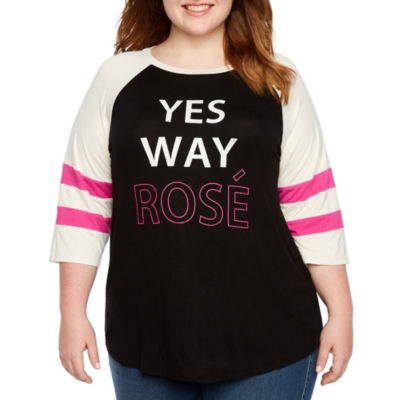 Boutique + 3/4 Sleeve Round Neck Graphic T-Shirt - Plus