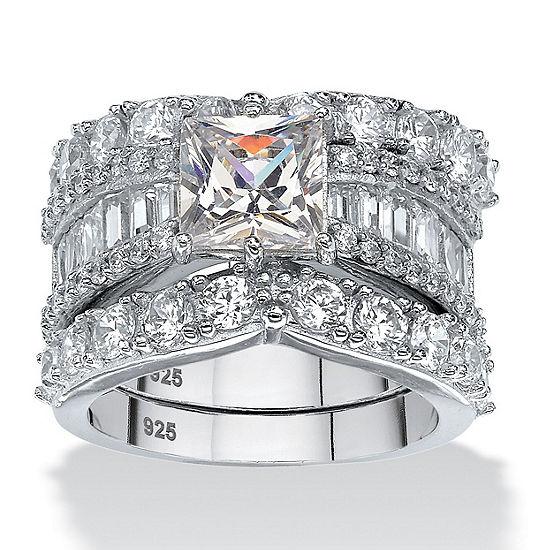 Diamonart Womens White Cubic Zirconia Platinum Over Silver Square Bridal Set