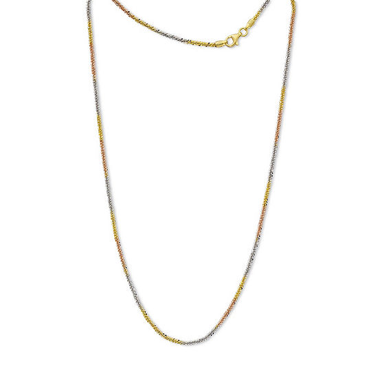 Made in Italy 24K Gold Over Silver Sterling Silver 18 Inch Solid Chain Necklace
