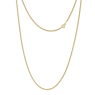 Made in Italy 24K Gold Over Silver Sterling Silver 16 Inch Solid Rope Chain Necklace