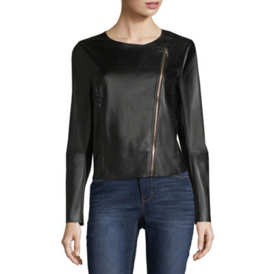 Worthington Zip Front Faux Leather Jacket