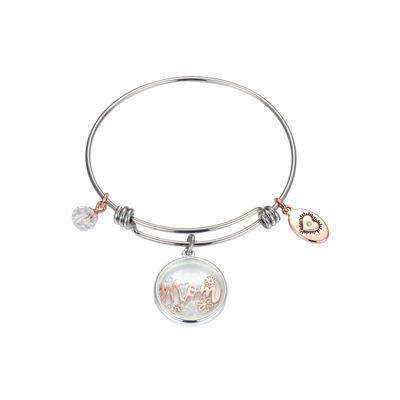 Footnotes Footnotes Footnotes Womens Clear Silver Over Brass Bangle Bracelet