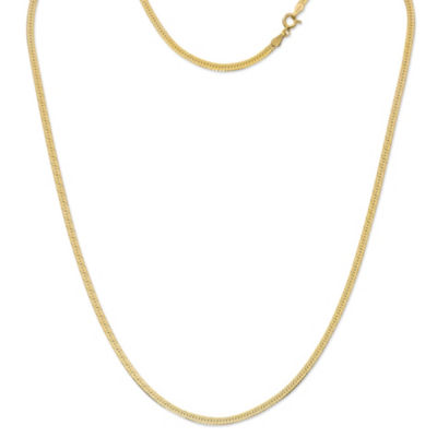 Made in Italy 24K Gold Over Silver Sterling Silver 20 Inch Solid Herringbone Chain Necklace