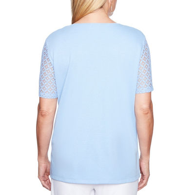 Alfred Dunner Day Dreamer Short Sleeve Keyhole Neck T-Shirt-Womens