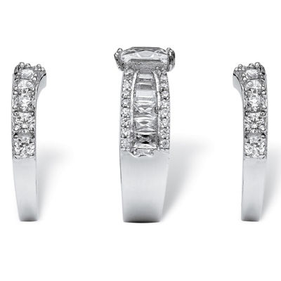 Diamonart Womens White Cubic Zirconia Platinum Over Silver Square Bridal Set