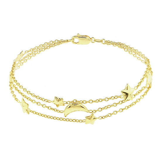 Sechic 14k Gold 75 Inch Solid Link Chain Bracelet