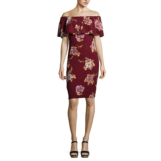 Almost Famous Sleeveless Floral Bodycon Dress-Juniors