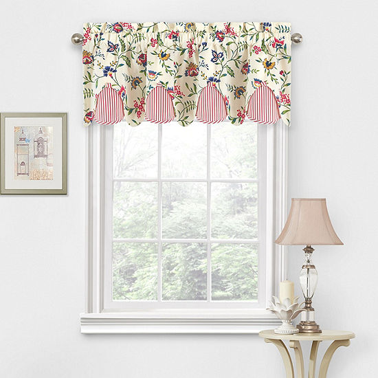 Waverly Carolina Crewel Rod-Pocket Tailored Valance