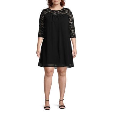 Secret Charm 3/4 Sleeve Shift Dress - Plus