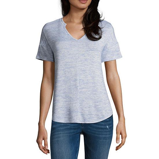 a.n.a-Womens Split Crew Neck Short Sleeve T-Shirt