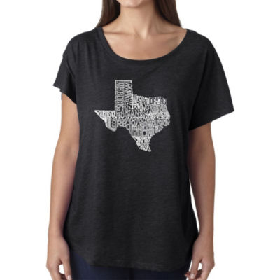 Los Angeles Pop Art Women's Loose Fit Dolman Cut Word Art Shirt - The Great State of Texas