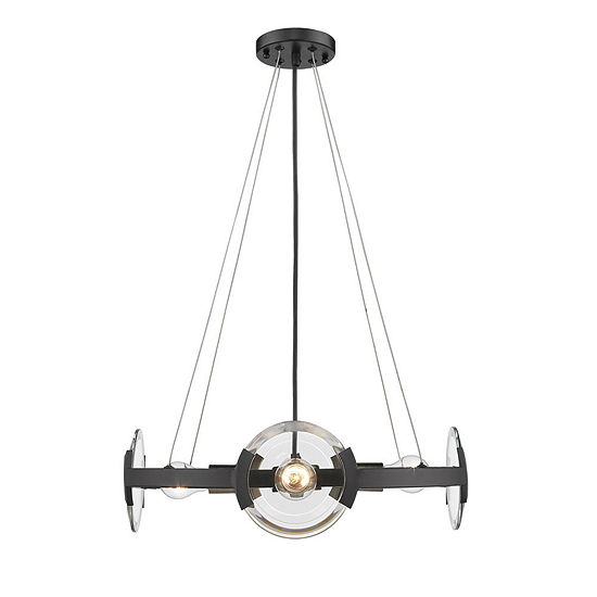 Golden Lighting Amari Chandelier in Black with Aged Brass Accents
