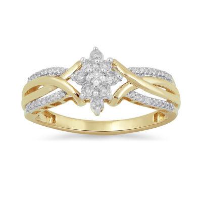 Womens 1/4 CT. T.W. White Diamond 10K Gold Cocktail Ring