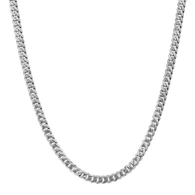 14K White Gold 18 Inch Solid Curb Chain Necklace