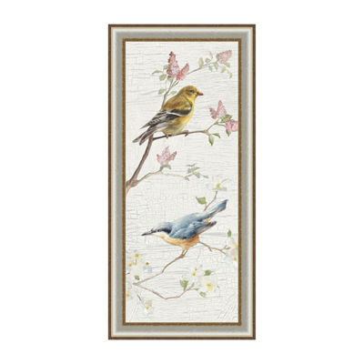 Vintage Birds Panel I Framed Canvas Art
