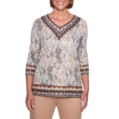 Alfred Dunner Travel Light 3/4 Sleeve V Neck T-Shirt-Womens