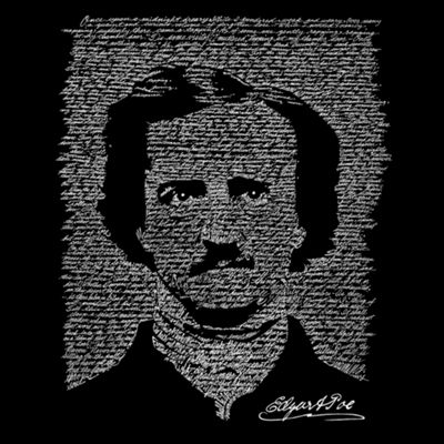 Los Angeles Pop Art Men's Tall and Long Word Art T-shirt - EDGAR ALLEN POE - THE RAVEN