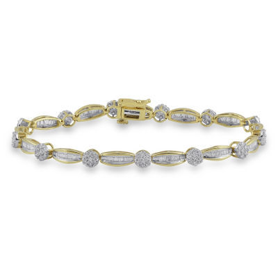 Diamond Blossom 10K Gold 7.25 Inch Box Link Bracelet
