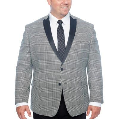 JF J.Ferrar Tartan Black and White Classic Fit Sport Coat - Big and Tall