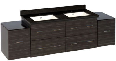 76-in. W Wall Mount Dawn Grey Vanity Set For 1 Hole Drilling Black Galaxy Top Biscuit UM Sink