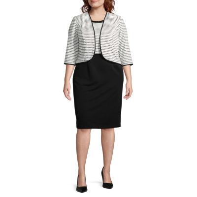 Maya Brooke Sleeveless Embellished Jacket Dress-Plus