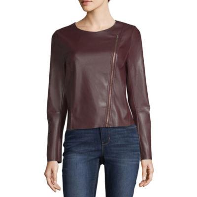 Worthington Zip Front Faux Leather Jacket