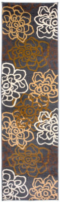 World Rug Gallery Contemporary Modern Floral Flowers Runner Rug