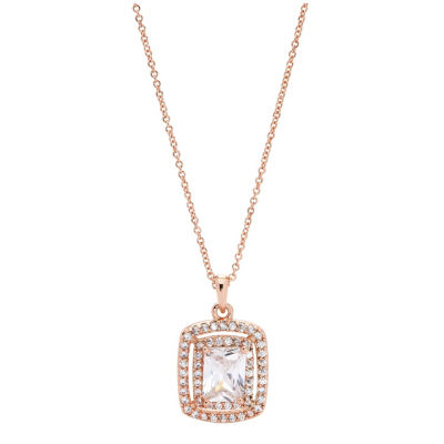 Sparkle Allure Cz Box Womens 3 1/2 CT. T.W Clear 14k Rose Gold Over Brass Pendant Necklace
