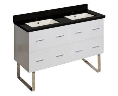 47.5-in. W Floor Mount White Vanity Set For 1 HoleDrilling Black Galaxy Top Biscuit UM Sink
