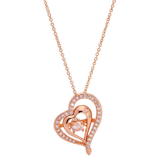 Sparkle Allure Cz Box Womens 3 4 Ct Tw Clear 14k Rose Gold Over Brass Heart Pendant Necklace