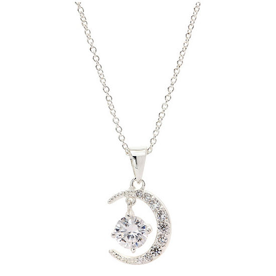 Sparkle Allure Cz Box Womens 2 1/2 CT. T.W. Clear Pure Silver Over Brass Pendant Necklace