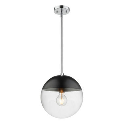 Golden Lighting Dixon Pendant in Chrome with Clear Glass