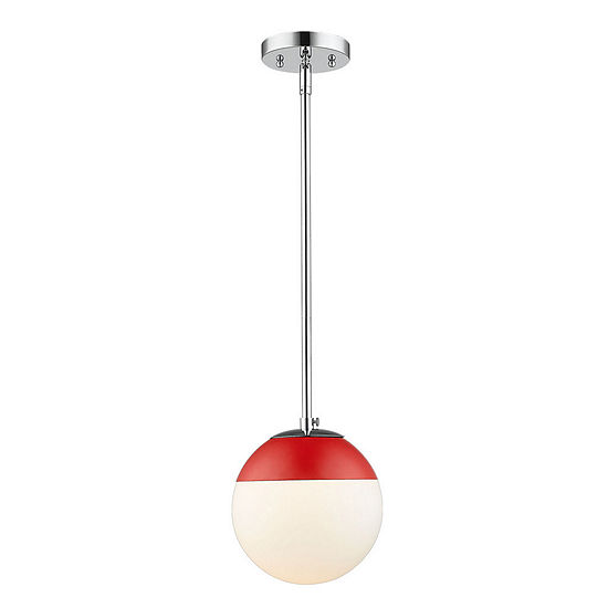 Golden Lighting Dixon Mini Pendant in Chrome withOpal Glass