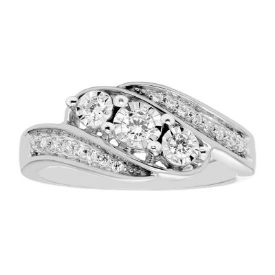 Love Lives Forever Womens 1/4 CT. T.W. Genuine White Diamond 10K White Gold 3-Stone Engagement Ring