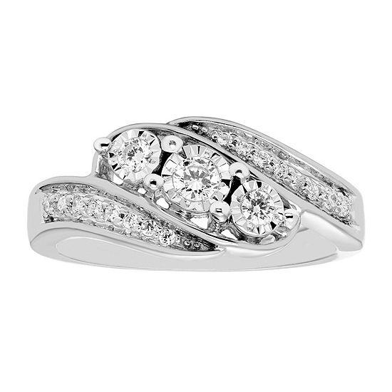 Love Lives Forever Womens 1/4 CT. T.W. Genuine White Diamond 10K White Gold 3-Stone Engagement Ring