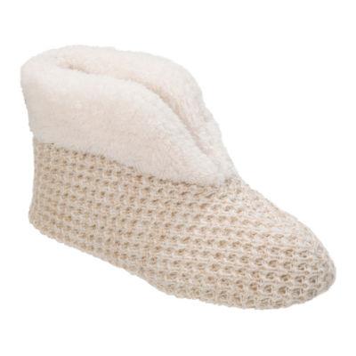 Dearfoams Textured Knit Bootie Slippers