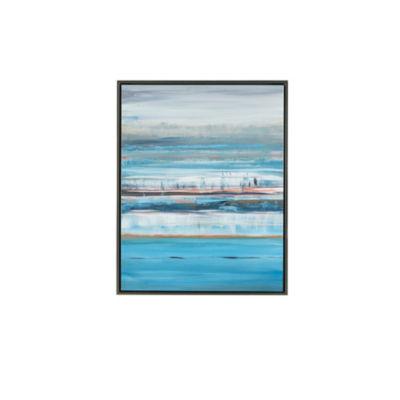 Madison Park Signature Blue Horizon Glass Coat Framed Canvas