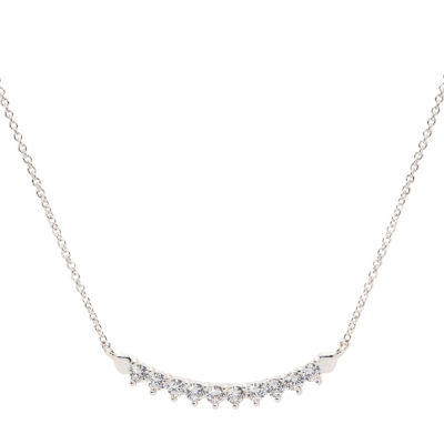 Sparkle Allure Sparkle Allure Cz Box Womens 1 CT. T.W. Clear Pure Silver Over Brass Pendant Necklace