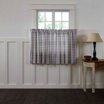Farmhouse Window Annie Buffalo Check Lined Tier Pair