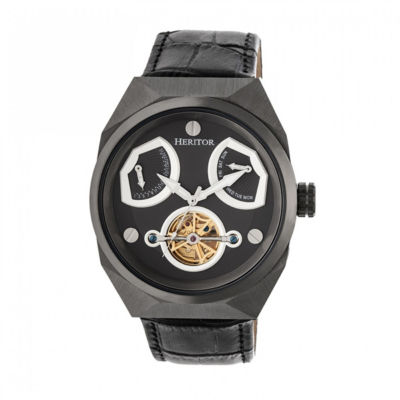 Heritor Oxford Mens Black Strap Watch-Herhr5507