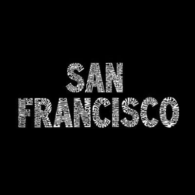 Los Angeles Pop Art Men's Tall and Long Word Art T-shirt - SAN FRANCISCO NEIGHBORHOODS