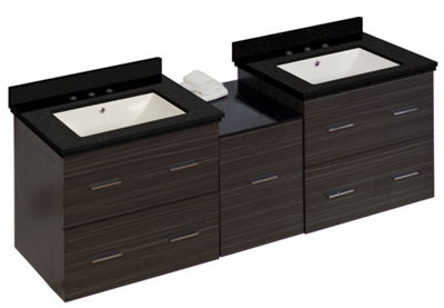 61.5-in. W Wall Mount Dawn Grey Vanity Set For 3H8-in. Drilling Black Galaxy Top Biscuit UM Sink