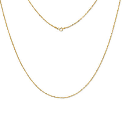 Made in Italy 24K Gold Over Silver Sterling Silver 30 Inch Solid Singapore Chain Necklace