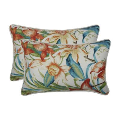Pillow Perfect Botanical Glow Tiger Lily Set of 2 Rectangular Outdoor Throw Pillows