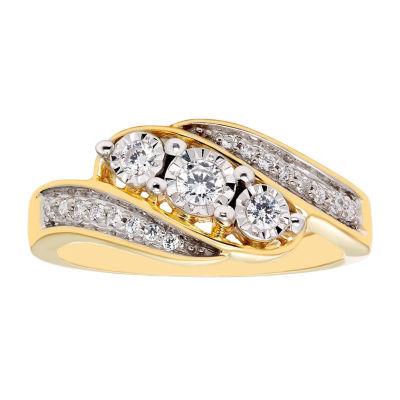 Love Lives Forever Womens 1/4 CT. T.W. Genuine White Diamond 10K Gold 3-Stone Ring