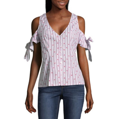 Belle + Sky Button Front Bow Sleeve Top