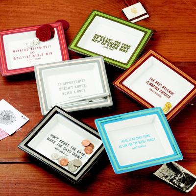 Two's Company Set Of 6 Wise Sayings Gentlemen'S Desk Trays
