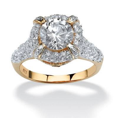 Diamonart Womens 3 CT. T.W. White Cubic Zirconia 18K Gold Over Silver Round Engagement Ring