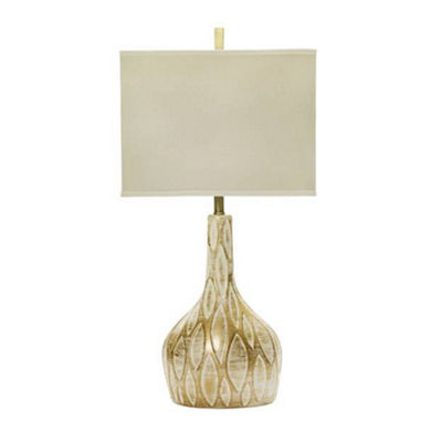 "M.r. Lamp & Shade's # MR8660GW 32"" Ceramic Table Lamp with Brushed Gold Over White Finish."