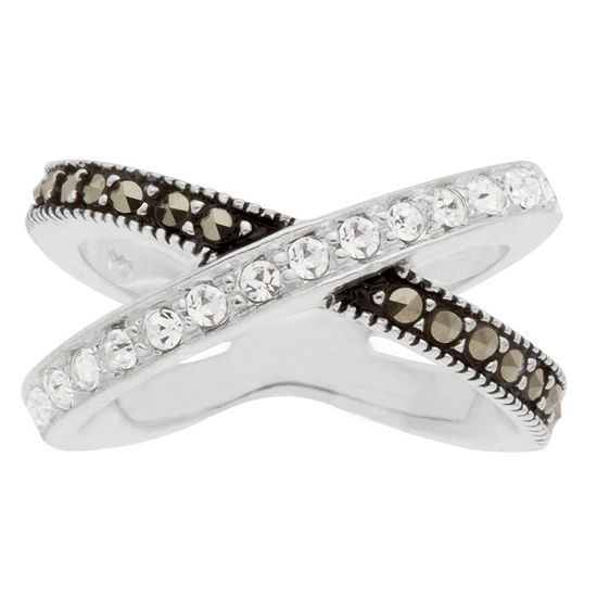 Sparkle Allure Womens Multi Color Marcasite Pure Silver Over Brass Cocktail Ring